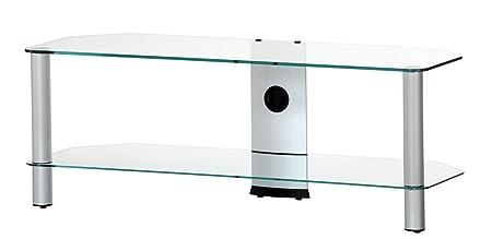 RO&CO M-1302 TG - Mueble TV de 2 estantes. Vidrio transparente / Chasis de color gris. Ancho 130 cms.