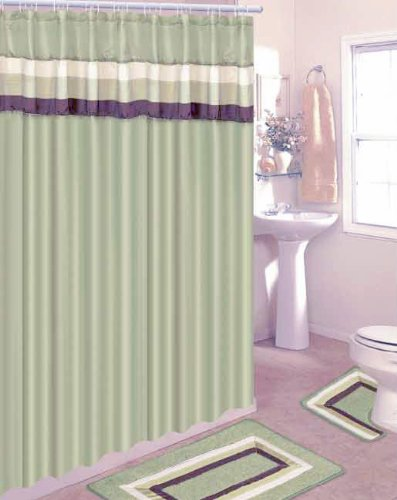 Cheap Sage With Brown And Beige Stripes 18 Piece Bathroom