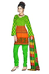 Shopeezo Green and Orange Colored Poly Cotton Printed Dress Material