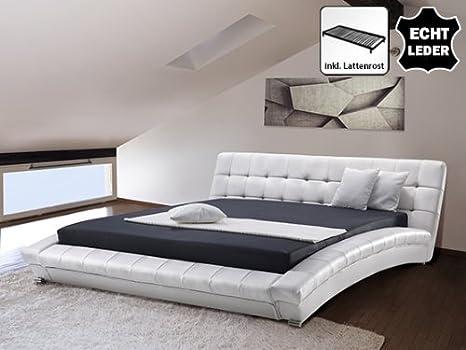 "Designer ECHTLEDER Bett / echtes Lederbett ""Miami"" schwarz oder weiss Polsterbett Leder mit Lattenrost / Lattenrahmen 160 oder 180 x 200 cm gunstig (weiss, 180x200 cm)"