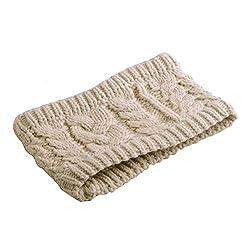 NSSTAR Women Girls Winter Warm Crochet Knit Knitting Wide Braided Hairband Headband Head Wrap Ear Warmer with 1PCS Free Cup Mat Color Ramdon (Beige)