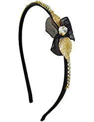 Ammvi Creations Special Diva CZ Solitaire Golden And Black Petals CZ Embellished Hair Band For Women