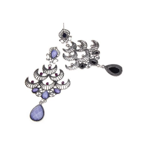 Retro Silver Moon Purple Crystal Chandelier Shape Earrings for Ladies and Girls