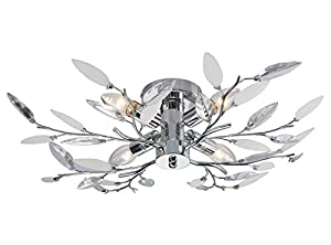 7 X Willow 4 Light Semi Flush Chrome Ceiling Light by CT Lighting