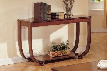 Cheap Curly Base Shelf Console Table in Dark Cherry Finish (F6016)