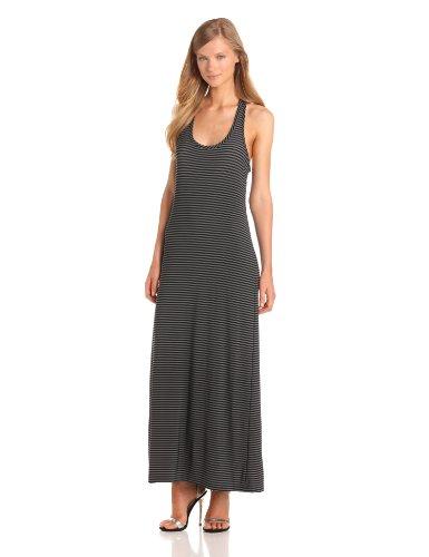KAMALIKULTURE Women's Racer Maxi Gown, Black/Grey, Small