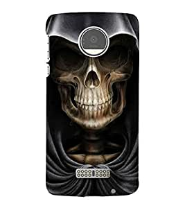 Skull with Hoodie 3D Hard Polycarbonate Designer Back Case Cover for Motorola Moto Z Force :: Motorola Moto Z Force Droid for USA