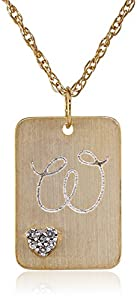 "10k Gold Plated Sterling Silver with Diamond-Accent ""W"" Initial Pendant Necklace, 18"""