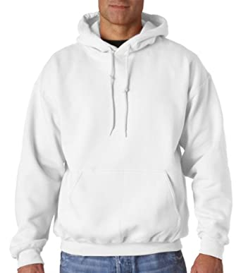 Gildan Men's Big Pouch Pocket Pullover Hooded Sweatshirt, White, Small