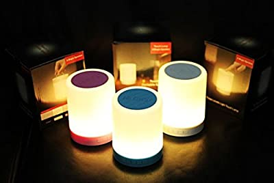 Night Light Table Lamp with Portable Bluetooth Speaker, Touch Control Bedside Lamp Color LED Outdoor Lamp, Micro SD / AUX/DC 5V