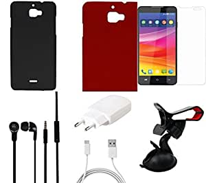 NIROSHA Tempered Glass Screen Guard Cover Case Charger Headphone Mobile Holder for Micromax Canvas Nitro 2 - Combo