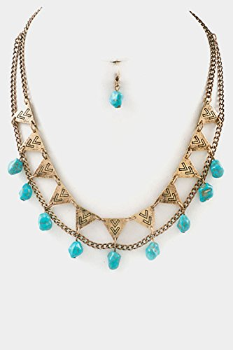 Glitz Finery Double Layered Chevron Textured With Turquoise Dangle Necklace S (Wg/Tq)