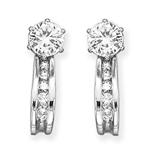 14K White Gold 1/4 ct. Diamond Earring Jackets (Highest Quality) by Katarina