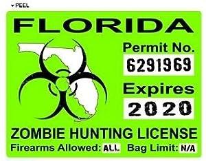 Florida fl zombie hunting license permit green for Florida hunting and fishing license