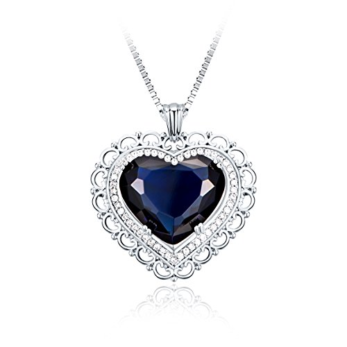 Heart of the Ocean Pendant Necklace Titanic Blue Crystal Fashion Jewelry, 18
