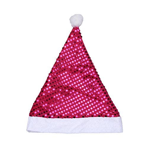 Reutry Woman Lady Christmas Party Sequined Ball Top High Hat Cap Present Rose Red