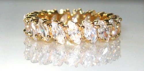 7.5ct ABSOLUTELY STUNNING AAA GRADE MARQUISE CUT ETERNITY RING. STONES ALL ROUND. 24K GOLD HEAVILY ELECTROPLATED.