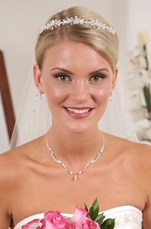 Austrian Crystal Necklace & Earring Set, Bridal Jewelry 599