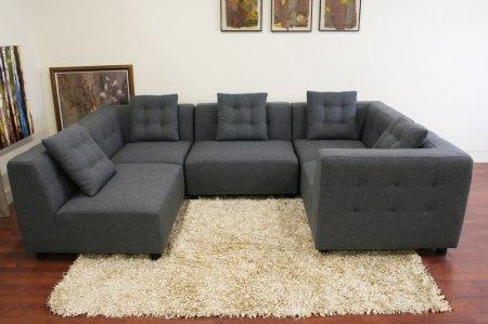 Wholesale Interiors Alcoa Gray Fabric Modular Modern