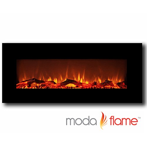 "Moda Flame Houston 50"" Electric Face ruin Mounted Fireplace Black"