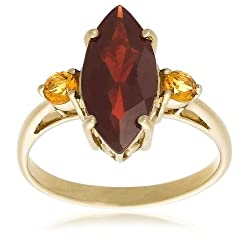10k Yellow Gold Garnet and Citrine Ring