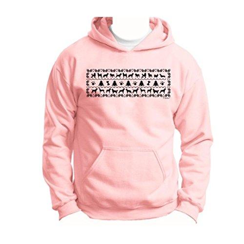 Dogs Funny Ugly Christmas Sweater Youth Hoodie Sweatshirt Medium Light Pink