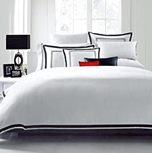 Hotel Luxury 3pc Duvet Cover Set-SALE TODAY ONLY! #1 Rated On Amazon.. Elegant White/Black Trim Hotel Quality Design. Top Quality Linens with 100% Money Back Guarantee!! Wrinkle & Fade Resistant Bedding..The Ultimate in Comfort..King/California King