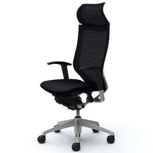 オカムラ バロン(Baron)オフィスチェア 【エクストラハイバック】 固定ヘッドレスト シルバー ブラックフレーム 可動肘 座クッション ブラック  CP87DR-FDF1