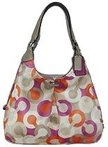 Coach Madison Diagonal Op Art Signature Maggie Shoulder Bag 23359 Khaki Orchid