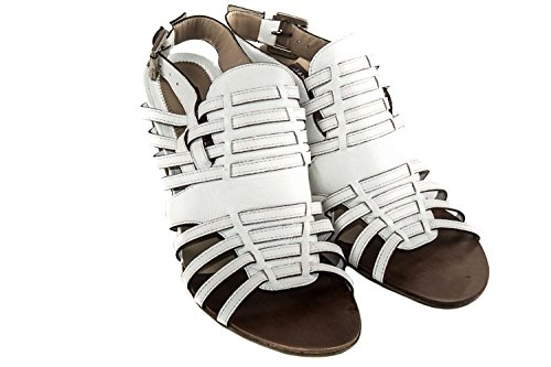 Scarpe donna JANET & JANET sandali alti N.41 in pelle tacco alto bianco X1514