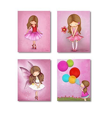 Wall Posters for Girls Room Pictures for Kids Bedroom Pink Nursery Decor Art Prints Set of 4 8