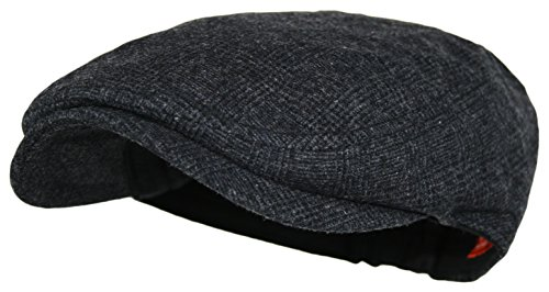 Men's Herringbone Wool Tweed Newsboy Ivy Cabbie Driving Hat (One Size, Black)