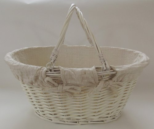 Cream or ivory Lined Wicker Basket with handles toy storage or shopping and gardening. Great gift basket