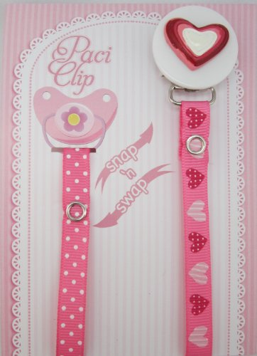 Pink Heart Ribbon Pacifier Clip