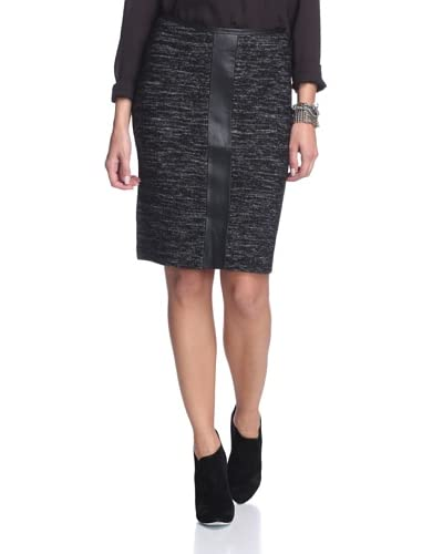 Katherine Barclay Women's Tweed Skirt with Faux Leather