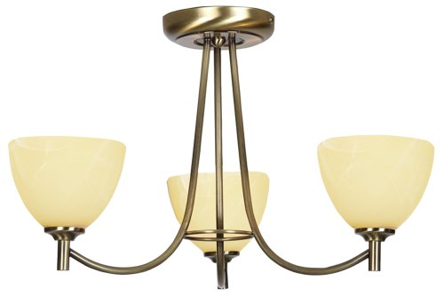 Hamburg 3 Light Ceiling Fitting Antique Brass Finish G9 Bulbs