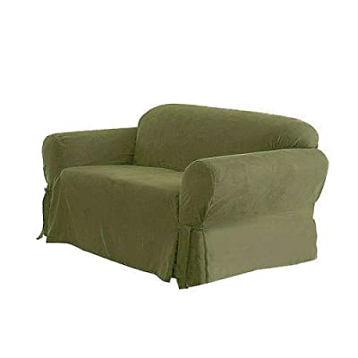 Green Living Group Chezmoi Collection Soft Micro Suede Solid Sage Loveseat Cover Slipcover with Elastic Band Under Seat Cushion, Green