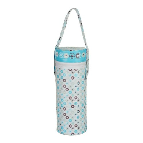 Universal Insulated Thermal Bag with Plastic Insert -- SINGLE BAG -- Baby Bottle Warmer & Cooler -- Fits Most Bottles -- BLUE FLOWERS