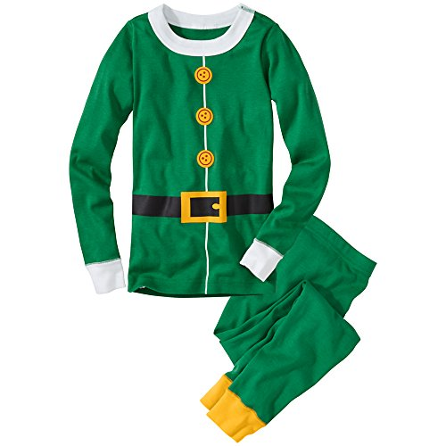 Hanna Andersson Baby Very Merry Long John Pajamas, Size 100 (4T), Elf front-845136