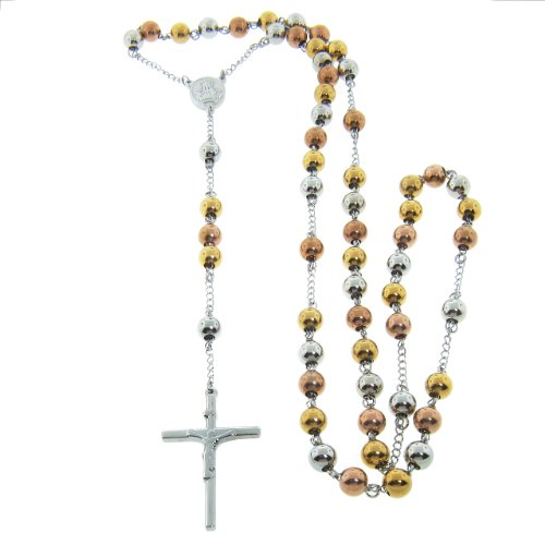 Tri-Color Stainless Steel Rosary Necklace with 8mm Balls (Rose Goldtone, Goldtone, Silvertone), 34
