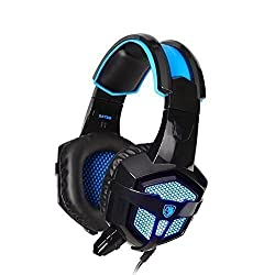 Sades SA738 Stereo Over Ear Wired Gaming Headphone Blue Led Lighting Headsets PU Ear-pad USB 3.5mm with Mic for PC Gamer Gaming Tablet Laptops Mobile Phone MP3 MP4
