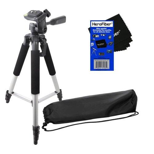 "57"" Pro Series Lightweight Photo/Video Tripod & Carrying Case For Nikon D3000, D3100, D3200, D5000, D5100, D5200, & D5300 Digital Slr Cameras W/ Herofiber® Ultra Gentle Cleaning Cloth"