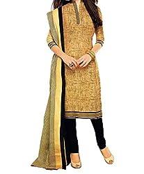 Look Smart Women's Polycoton Unstitched Dress Material (KHAKHI BLACK_Multicolor_Free Size)
