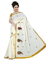 Brindavan Kerala Cotton Color Applique Copper Sequence Embroidery Party Wear Saree with Blouse(19893278)