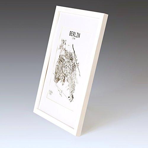 Solida Cornice in Legno per Poster A3 - Passepartout per Foto A4 Incluso - Larghezza della cornice 2cm! -