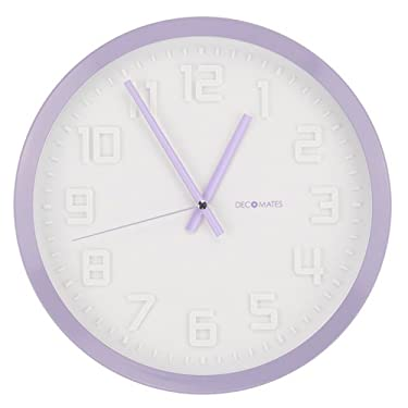 DecoMates Non-Ticking Silent Wall Clock - Color Rim (Lavender)