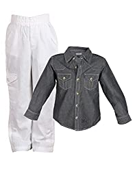 Tonyboy Combo Classy Black White Solid Cotton Shirt and Linen Pant