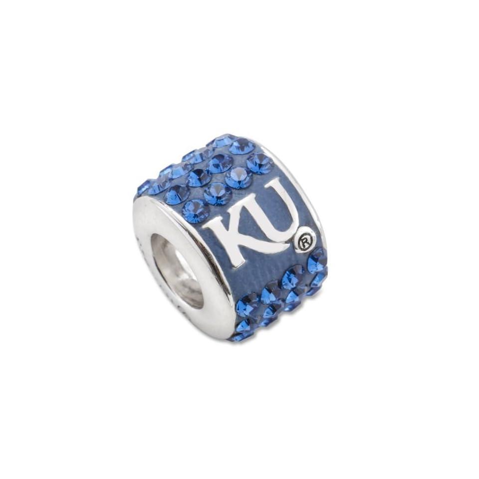 Sterling Silver University of Kansas Premier Crystal Bead Charm UKS070CHMSS Jewelry