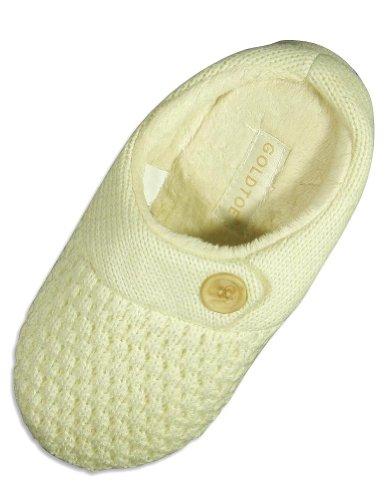 Cheap Goldtoe – Ladies Knit Slipper, Ivory 24469 (B004S2V7VC)