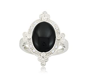 10k White Gold Antique Onyx Diamond Ring (0.05 cttw, I-J Color, I2-I3 Clarity), Size 8
